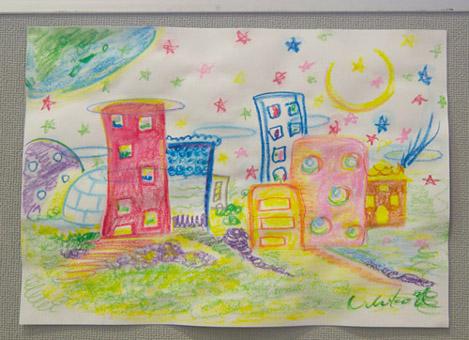 現代アーティスト 渡辺有智子さんのキットパスで描いた絵本作品『百年の間』