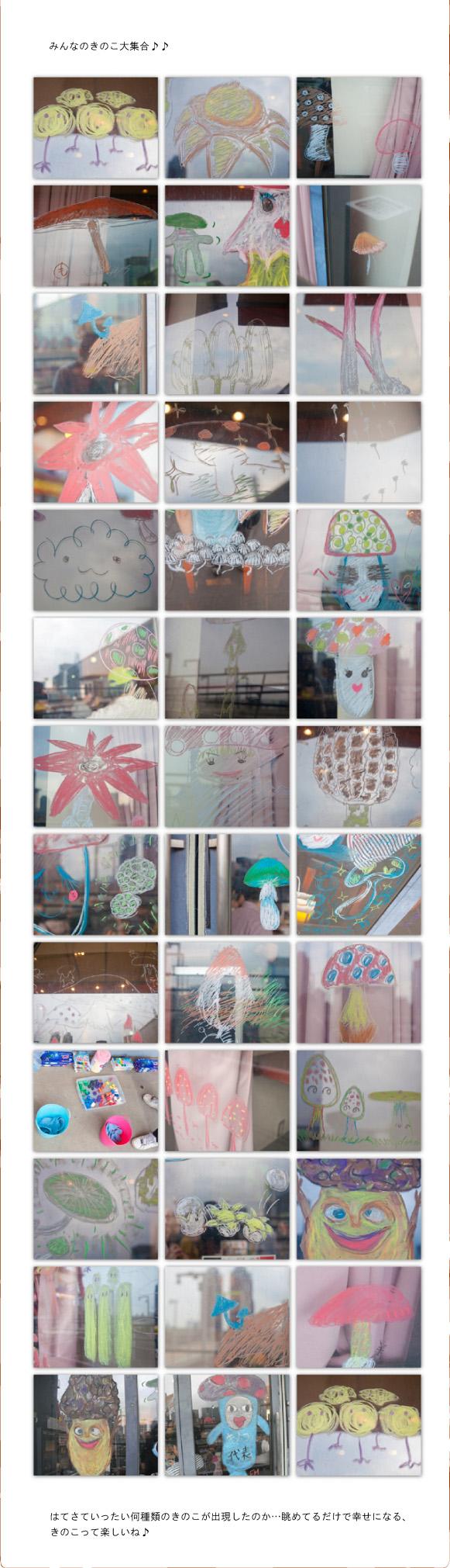 飯沢耕太郎さん、とよ田キノ子さん、堀博美さんによるキノコナイト―東京カルチャーカルチャーのガラスにみんなでキノコアート(2012年6月23日)