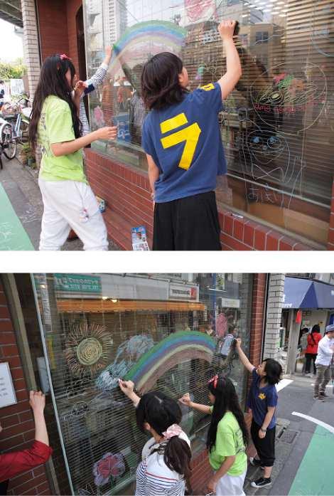 二子玉川青空アート&マートにキットパス&ダストレスチョークでラクガキで参加しました(2012年4月29日)