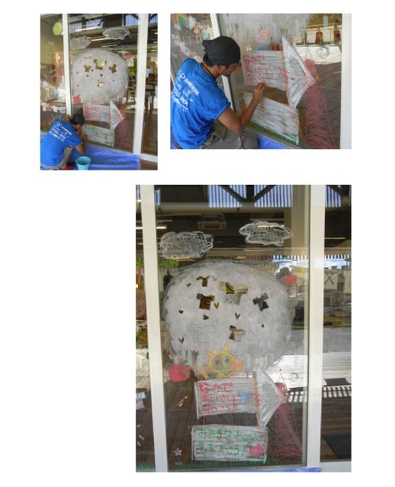 すみだTシャツアート展&Tシャツでつながるワークショップに、キットパスで大きな窓をキャンバスに自由に描こうで参加しました(2012年8月18〜19日)