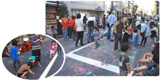 三軒茶屋太子堂商店街でラクガキ!ダストレスチョークで協力します(2012年10月21日)