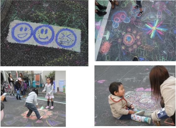 二子玉川青空アート&マート<キットパス&ダストレスチョークでラクガキ>に協力しました(2012年11月3日)