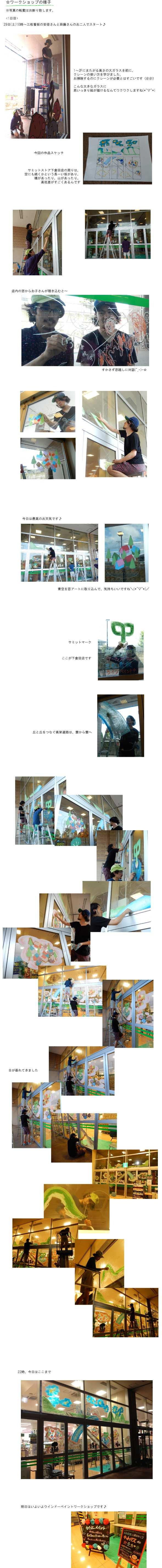 武蔵野美術大学アーティストユニット「三枚看板」ワークショップ第2弾「まどに絵をかいちゃう!?ウインドーペイント大会」@サミットストア下倉田店(2013年6月30日)