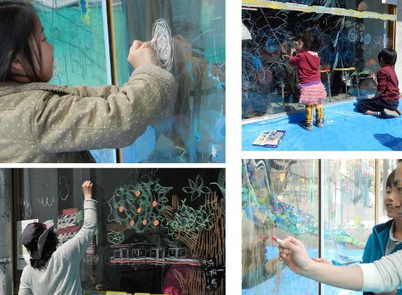 『ARTS & CRAFTS_GARDEN in 3331』でサダヒロカズノリさんと大きなガラスにお絵かき(2014年3月23日)