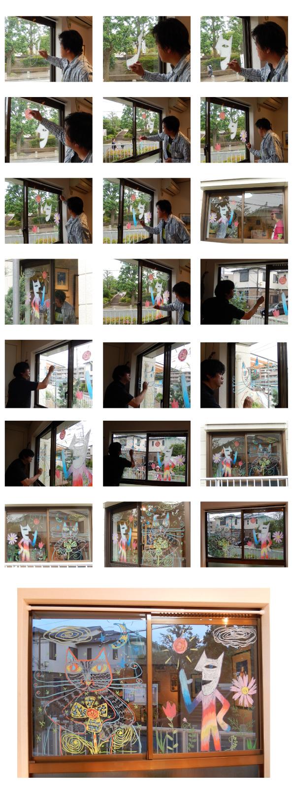山口マオさん・奥勝實さんが二人展「奥ネコvsマオ猫」でキットパスライブペイント協演!!@アトリエ木里(2015年5月16日)